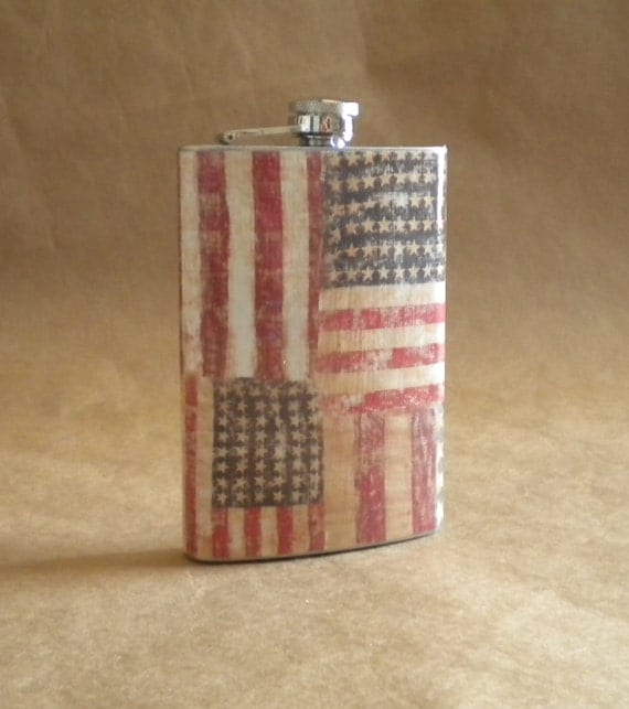 American Flag Patriotic Stainless Steel 8 Ounce Gift Flask
