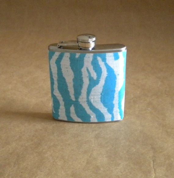 Sale Flask Turquoise and White Zebra Print 6 ounce Stainless Steel Bridal Party Birthday Gift Flask