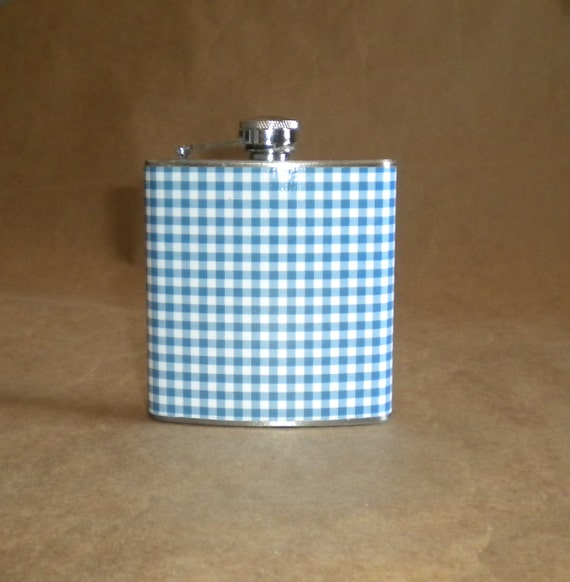 SALE Flask Royal Blue and White Gingham Print Wedding Sorority Birthday 6 ounce Stainless Steel Gift Flask