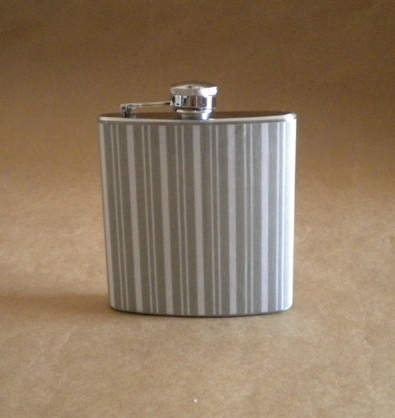 SALE Flask Gray and White Stripes Print Wedding Party 6 ounce Stainless Steel Gift Flask