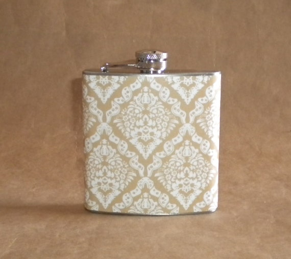 Bridesmaids or Hostess Gift Taupe and White Victorian Diamond Print 6 ounce Stainless Steel Girl Gift Flask