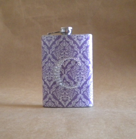 Girly Gift Flask Purple and White Victorian Diamond Print with ANY Rhinestone Initial 8 ounce Stainless Steel Girly Gift Flask