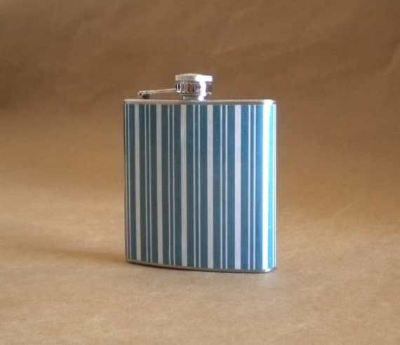 Teal Blue and White Stripe Print Wedding Party 6 ounce Stainless Steel Gift Flask KR2D 4440