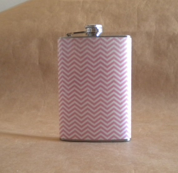 Sale Flask of Pink and White Chevron Print Girly Bridal Party Stainless Steel Gift Flask KR2D 4927