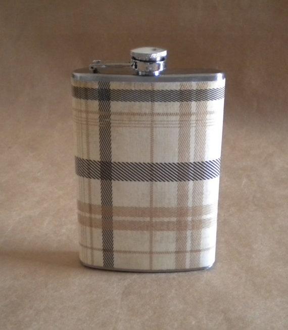 Gentleman's Plaid Print Stainless Steel 8 oz. SALE Flask KR2D 4966