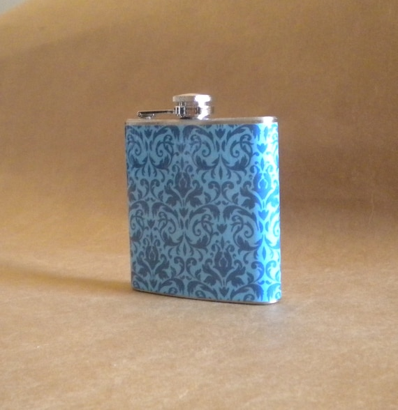 Ready to Ship Girly Gift Flask  on SALE Blue on Blue Damask Print 6 ounce Stainless Steel Flask KR2D 5154