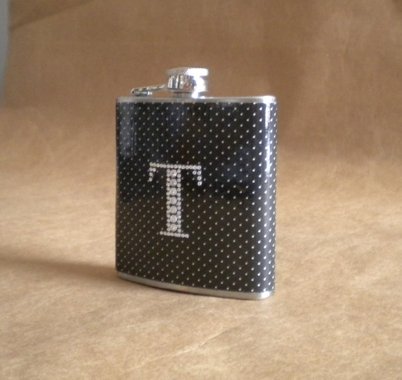 Flask Black and White Pin Dot Print with ANY Rhinestone Initial 6 ounce Stainless Steel Girl Gift Flask KR2D 4698