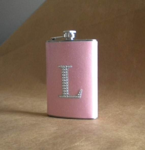 Ladies Valentine Gift Light Pink or ANY Color Sparkly with ANY Rhinestone Initial 8 ounce Stainless Steel Girly Gift Flask KR2D 5296