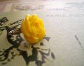 Yellow Rose cabochon Adjustable ring