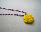 Purple and Yellow Rose Necklace