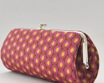 Oval Elements in Chocolate Cherry..Small Clutch Purse