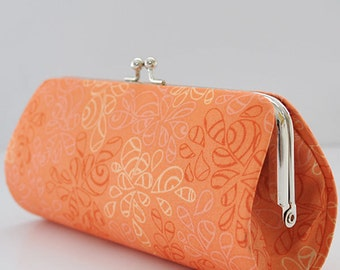 Nature Elements in Orange Peel..Small Clutch Purse