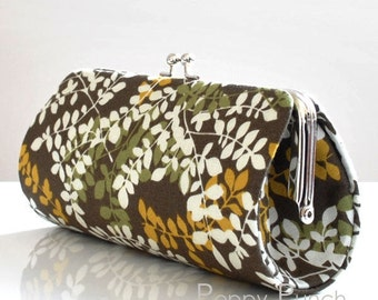 Packed Vines in Brown..Small Clutch Purse
