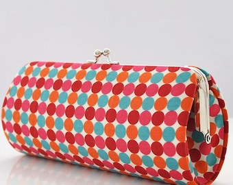 Dots in Berry and Teal..Small Clutch Purse