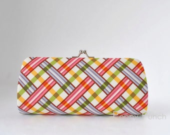 Picnic Plaid in Berry..Small Clutch Purse