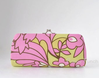 Wildflowers in Rose..Small Clutch Purse