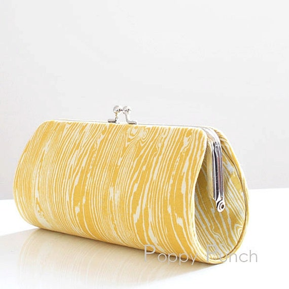 Woodgrain in Vintage Yellow..Small Clutch Purse