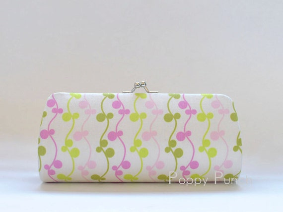 Vines in Pink..Small Clutch Purse