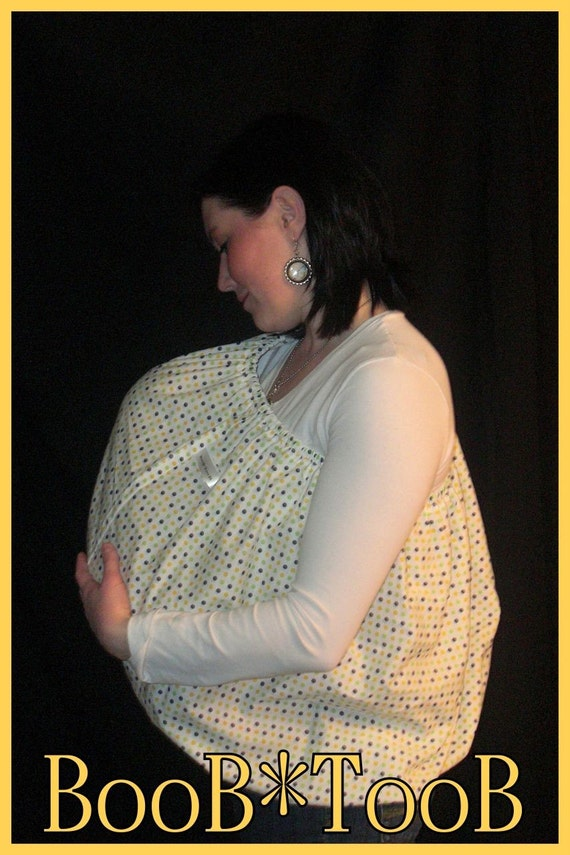 BooB TooB The ONLY Nursing Cover That's Got Your Back (White with Blue Yellow and Green Polka Dots)