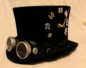 Tick-Tock Top Hat and Steampunk Goggles - working clock and thermometer in a wool top hat - Silver