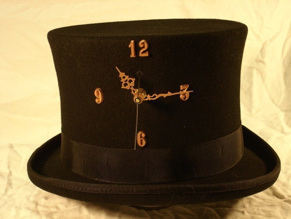 Tick-Tock TopHat - working clock in a wool top hat - Copper
