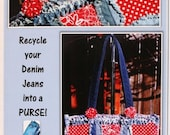 PURSE PATTERN Denim Circle Rag BAG made with Recycled Jeans