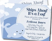Ships Ahoy, It's a Boy Customized Blue Whale Baby Shower Invitation - Printable Digital JPEG File