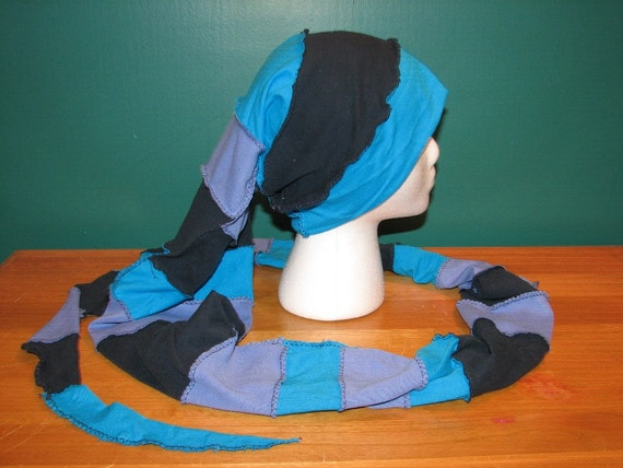 REDUCED 15% Super Six Foot Long Unique Upcycled Reversible Jersey Stocking Elf Fairy Hat Scarf Combination Blue Ocean Turquoise