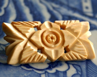Ivory Brooch Hand Carved Japan