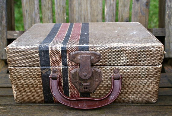 Vintage Train Case Suitcase Box