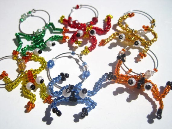 Beaded Frog Wine Charms