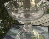 Vintage Clear Depression Glass Footed Compote