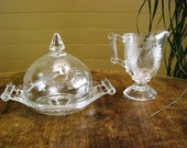 """Vintage Butter Dish with Dome Lid and Cream Pitcher, Depression Glass """"Baltimore Pear Pattern"""""""