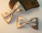 2PCS-90MM X 50MM CUTE Hotfix Satin Ribbon Bow 5Colors(C514Light Beige)