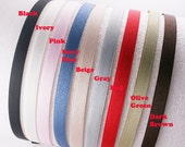 8PCS-10MM Grosgrain Ribbon High Flex Metal Headband and End Fabric tape tip, Handmade -1 of each color (NO Red color)