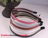 3Pcs-10MM Velvet Glitter Metal Headband 5Colors-Choose Your Colors (F255)