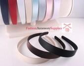 10pcs-25mm Handmade Satin Plastic Covered Headband, premium Quality, 10Colors-1 of each color(G122)