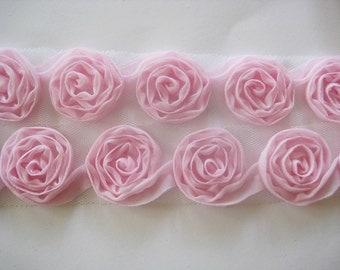 1yd-30mm organza little Fold roses chiffon trim Lace-(C127Pink)