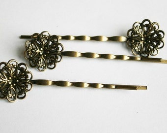 10PCS-PAD20MM Antique Bronze Bobby Pin with Filigree Pad(C519)