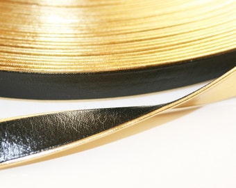 2YD-10MM Gold Line ARTIFICIAL LEATHER RIBBON-Black(E205)