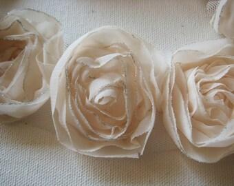 Organza Rose trim 9colors avail. 1/2yd-9pcs(43mm)  -(D314-Ivory)