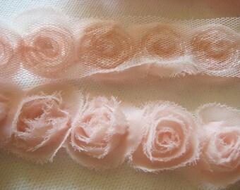 1/2yd organza little rose trim for art deco,accessory,clothing etc.( 7colors) -(G102-peach)