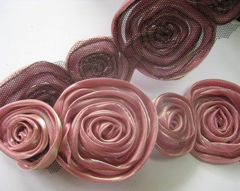 1/2 yd Rose Organza Satin Trim  for corsage,necklace,hair accessory,etc 2sized-pink(G100-P)