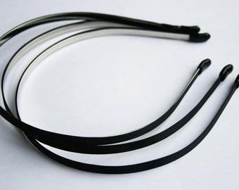 10PCS-5MM High Flex Metal Headband covered with Satin Silk and Rubber Tips, Handmade -BLACK (E200-BL)