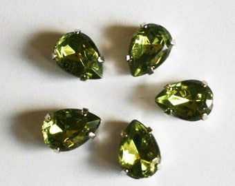 10pcs-10mmX15mm Fancy Water drop Cut  With Attachable Metal Wrap Green(A185)