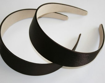 2PCS-40MM Handmade Satin Headband-Dark Brown (G103-Dark Brown)