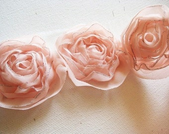 1yd-18pcs organza rose trim(43mm) 9colors(D314Peach)