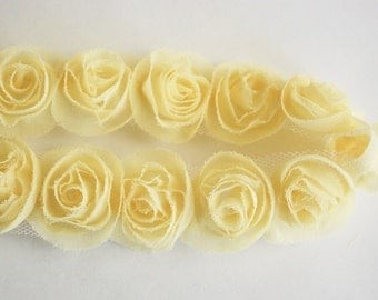 1yd organza little rose trim for art deco,accessory,clothing etc.( 7colors) -yellow(G102-Y)