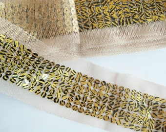 2YD-60MM(2 1/4inch) Yellow Sequin Lace Ribbon 6colors-14(B134)