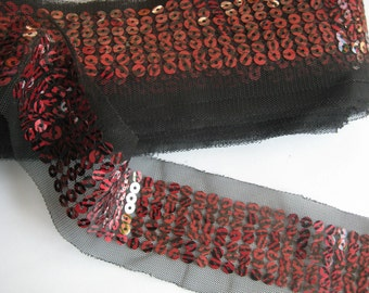 3YD-60MM(2 1/4inch) Red Sequin Lace Ribbon 6colors-14(B132)